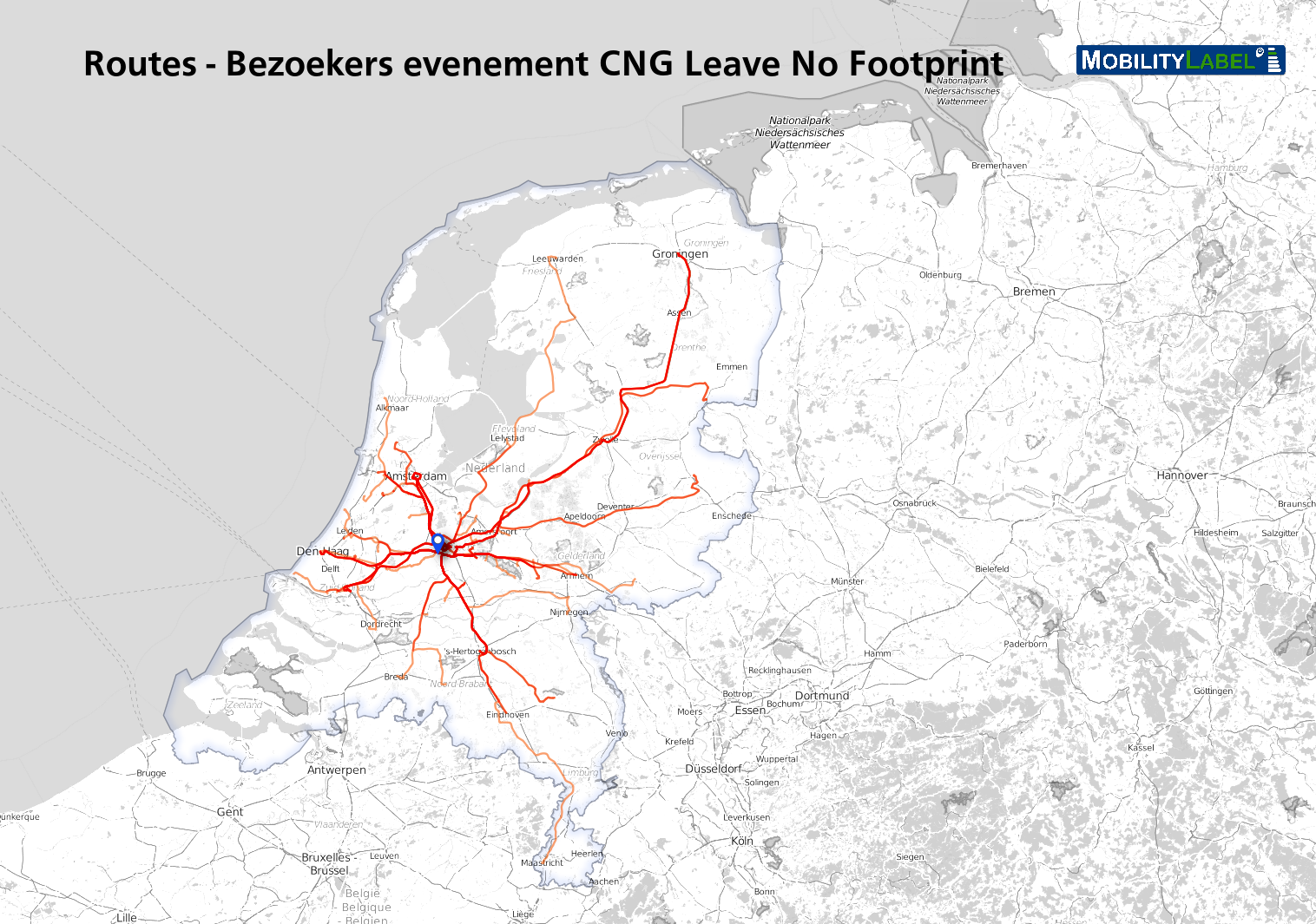 CO2-uitstoot CNG-event 'Leave no footprint' in kaart gebracht